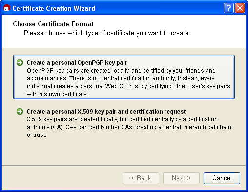 Gpg4win compendium 7 creating a certificate the differences and common features of the two formats have already been discussed in chapter 5 yelopaper Choice Image