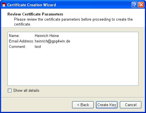 Gpg4win Compendium -- 7 Creating a certificate