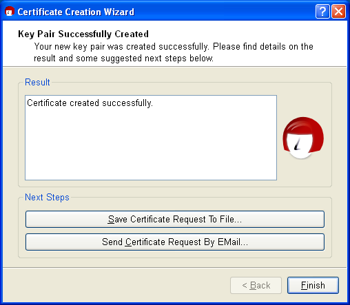 Gpg4win compendium 7 creating a certificate as soon as the key pair has been successfully created you will see the following dialog yelopaper Choice Image